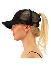 Ymombest Ponytail Baseball Cap Messy High Bun Adjustable Mesh Trucker Sun Hat