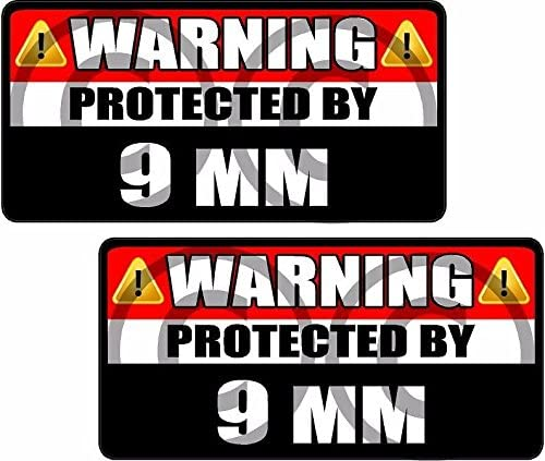 Magnet 2-3 X 1.5 10Mm 10 Mm Protected By Decal Set Gun Warning Magnetic Sticker