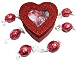 Valentine's Day Glitter Heart Box Filled w/ Lindor Truffles, Small Deal