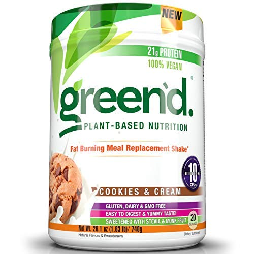 Complete Nutrition Green'd Fat Burning Meal Replacement Shake, Cookies & Cream, 100% Vegan, Probiotic, Pea Protein Powder, 20 Servings, 26.1oz Tub