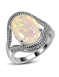 CYWNA White Fire Opal Zircon Gold Plated Engagement Wedding Party Ring Size 5-11