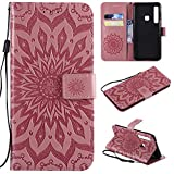 Cfrau Kickstand Wallet Case for Samsung Galaxy A9 2018,Retro Mandala Sunflower PU Leather Magnetic Flip Folio Stand Soft Silicone Card Slots Wrist Strap Case with Black Stylus - Pink