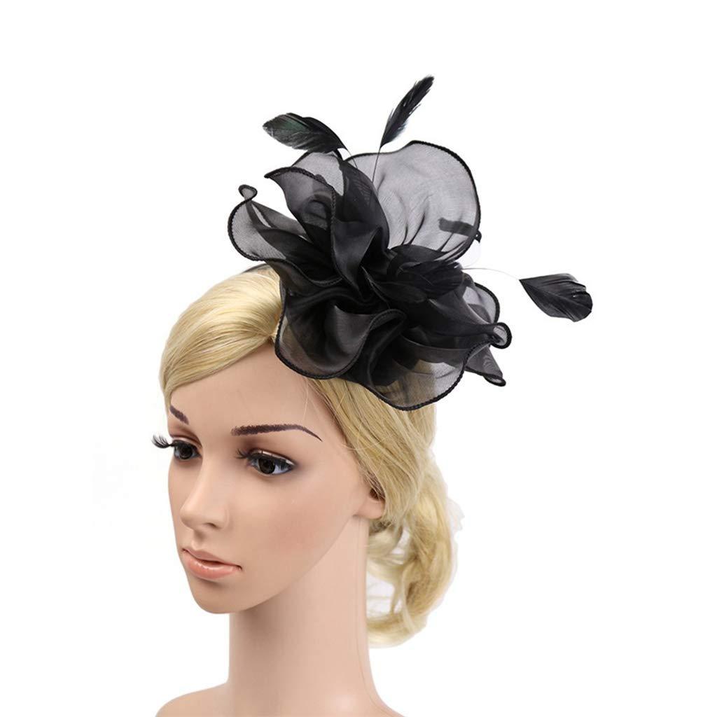Alihao Fascinator Hats for Women Elegant Flower Feathers Headband Ladies Fashion Wedding Party Hat
