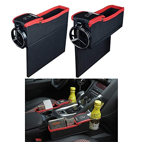 NEW POWER Premium PU Leather Side Pocket Organizer Car Seat Filler Gap Space Storage Box Bottle Cup Holder Coin Collector Car Interior Accessories 2PCS(Black with Red)