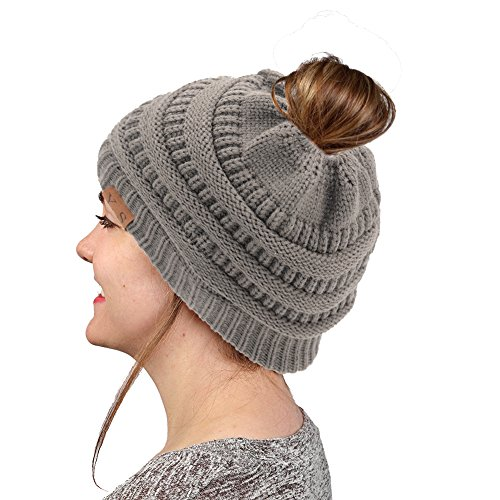 Button Up Wool Cap (VANGAY Beanie Tail Women's Soft Trendy Stretch Cable Knit, Messy High Bun Ponytail Beanie Tail Cap Hat(Dark Gray))