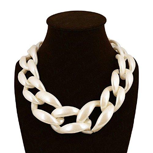 Pearl Acrylic Necklace (Jewelrydress Women Fashion Acrylic Twist Collar Chunky Choker Statement Chain Necklace Pearl White)