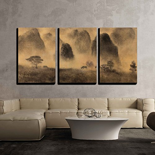 Yellow Fog and Chinese Mountain x3 Panels