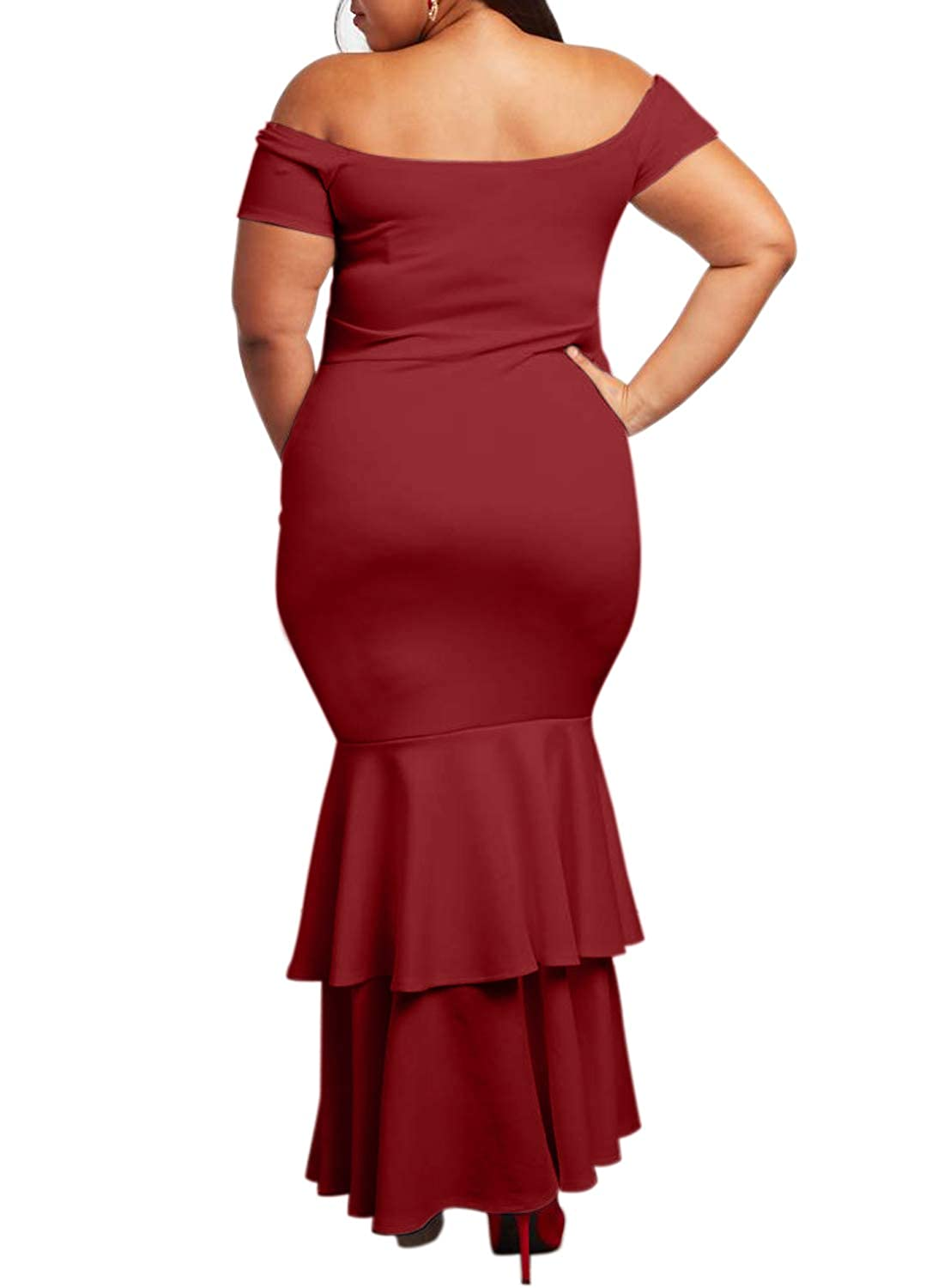 0a73aef515e Ecosunny Womens Off Shoulder Bodycon Ruffle Mermaid Plus Size Party Maxi  Dress at Amazon Women s Clothing store