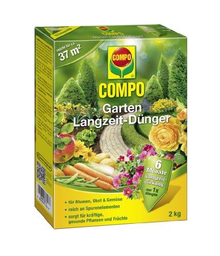 COMPO Garten Langzeit-Dünger, hochwertiger, universell einsetzbarer Langzeitdünger für alle Gartenblumen, Obst und Gemüse, 2 kg