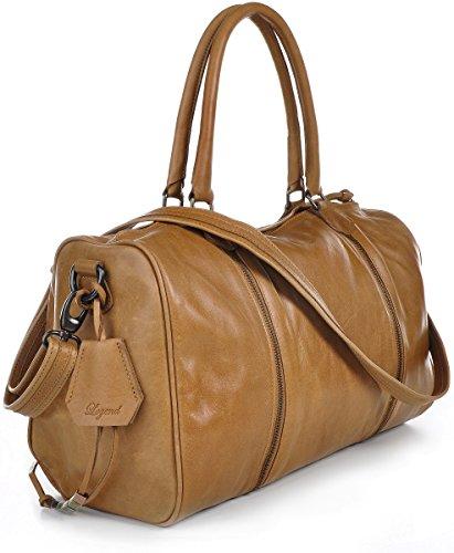 LEGEND, cuir, sacs à main femmes, sacs à main, sacs bowling, cabas, sacs en en cuir, aspect vintage, sacs en bandoulière, format A4, cuir, camel, 39 x 24 x 18 cm (H x L x P)