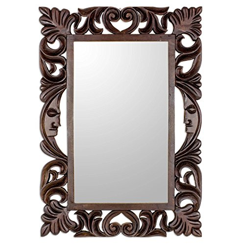 NOVICA Hand Carved Floral Wood Frame Wall Mounted Mirror, Moon Vines'