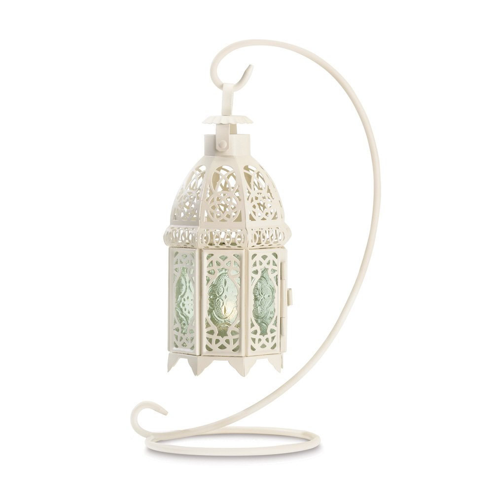 10 Wholesale White Fancy Lantern with Stand Wedding Centerpieces