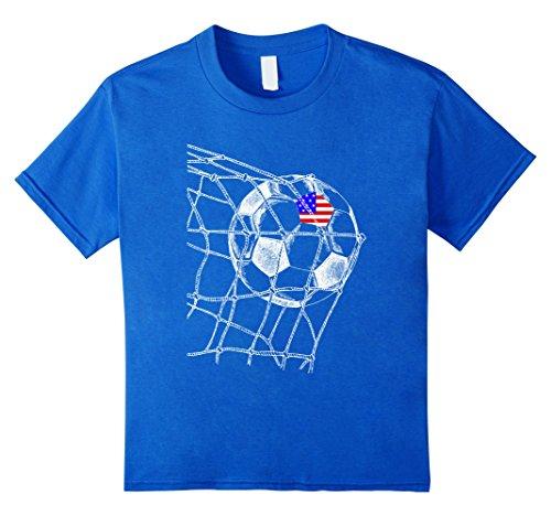 Us Soccer T-shirts (Kids US USA America Flag on Soccer Ball Football Jersey T-Shirt 12 Royal Blue)