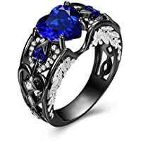 Heart Shaped Blue Sapphire Black Gold Angel Wing Ring Womens Anniversary Jewelry (8)