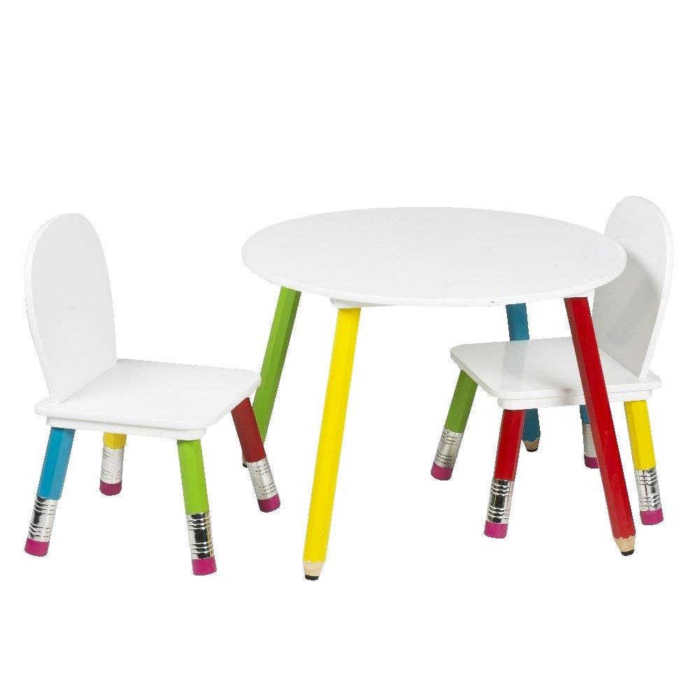 BAKAJI Set Tavolo con 2 Sedie Gioco per Bambini in Legno con Gambe a Forma di Matita Disegno Scuola