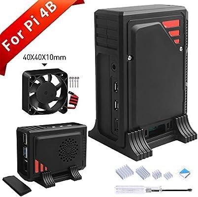 GeeekPi Raspberry Pi 4 Model B Caja, Raspberry Pi 4 Case con ventilador de enfriamiento 40X40X10mm y 4pcs Raspberry Pi 4 Disipador térmico para Raspberry Pi 4 Model B: Amazon.es: Electrónica