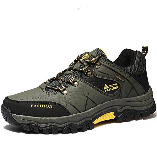 VILOCY Men's Hiking Boots Trekking Shoes Low Top Waterproof Antiskid Cushioning Boots Outdoor Sneaker Green,43
