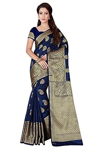 Shonaya Women's Royal Blue Cotton Silk Woven Work Saree with Blouse Piece - Blue Color Cotton