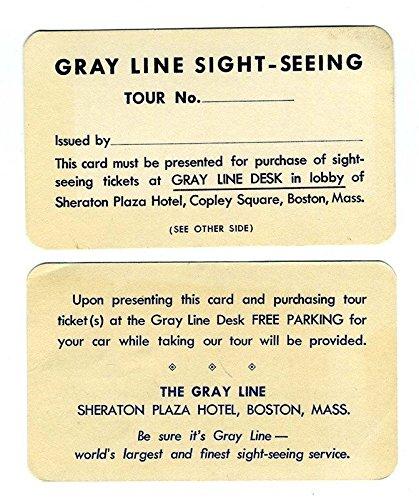 Gray Line Sightseeing Sheraton Plaza Hotel Free Parking Card Copley Boston