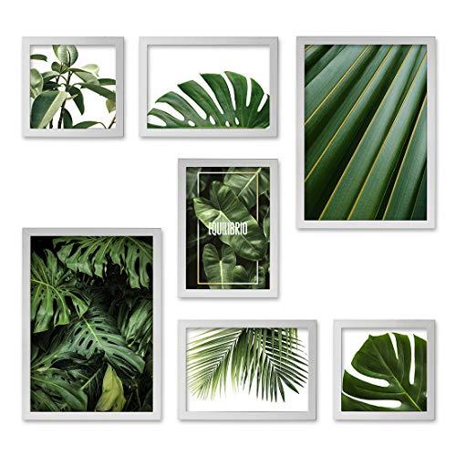 Conjunto Quadros Decorativos Folhas Verdes Moldura Branca 90 x 90 m - Prolab Gift