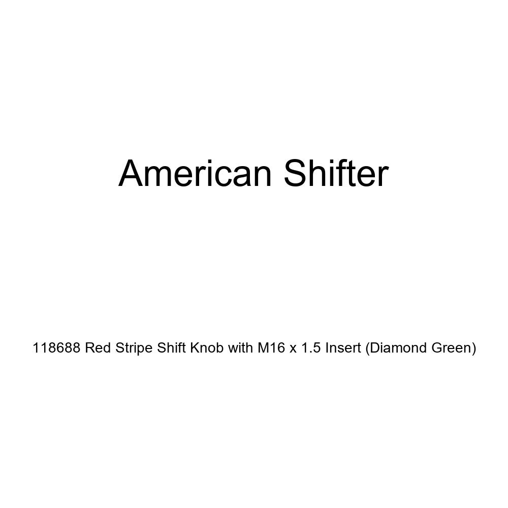 American Shifter 118688 Red Stripe Shift Knob with M16 x 1.5 Insert Diamond Green