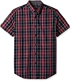 Ben Sherman Men's SS Tonal Plaid Shirt, Wine, X-Large