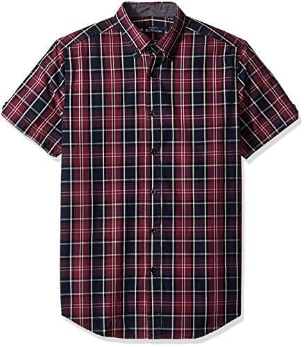 (Ben Sherman Men's SS Tonal Plaid Shirt, Wine, L)