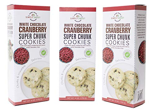 Cranberry White Chocolate - Simply Sweet Bakeshop White Chocolate Cranberry Super Chunk Cookies, 18Count