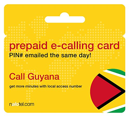 Prepaid Phone Card - Cheap International E-Calling Card $15 for Guyana with same day emailed PIN, no postage necessary by Nalotel