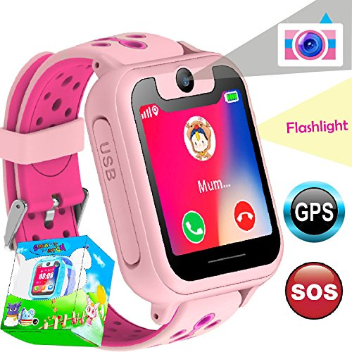 Kid Smart Watch GPS Tracker Wrist Phone Game Watch for Kids Child Boys Girls SOS anti-lost Alarm Remote Monitor with SIM Card Compatible for iOS Android Touch Screen Birthday Gifts by iCooLive