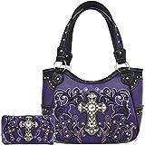 Western Concealed Carry Rhinestone Cross Floral Country Purse Tote Handbag Shoulder Bag Wallet Set Purple