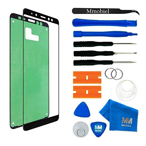 (MMOBIEL Front Glass Repair Kit Compatible with Samsung Galaxy A8 and Plus A730 2018 (Black) Display incl. Tool Kit)