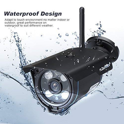 FLOUREON 720P HD Wireless IP Camera Outdoor Waterproof CCTV Home Security System Bullet Cam YouTube Support Motion Detection Alarm Video Recorder with Remote Playback (Black)