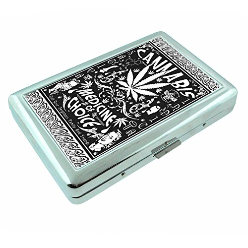 - Vintage Poster Cannabis Medicine of Choice S308 Silver Cigarette Case Metal Wallet Id Holder 4