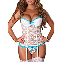 Sexy Life Womens Sexy Lingerie Lace Babydoll Corset Nightdress with Stockings
