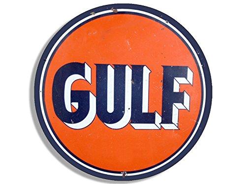 American Vinyl Vintage Round Gulf Gas Logo Sticker (Motor Oil car Gasoline ()