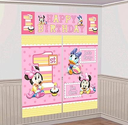 Disney 1st Birthday Baby Minnie Mouse Scene Setters Wall Banner Decorating Kit Birthday Party Supplies