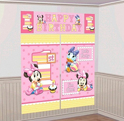 Disney 1st Birthday Baby Minnie Mouse Scene Setters Wall Banner Decorating Kit Party Supplies