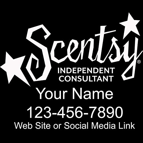 Basic Vinyl® - Scentsy® Independent Consultant Business Retail Decal - Personalized Custom Advertising for Your Company Vehicle Car Truck (12x10 inch, Gloss White)
