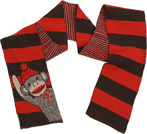 - Green 3 Sock Monkey Fashion Sweater Knit Scarf (Red/Brown Sock Monkey Stripes) - Womens Recycled Cotton Fashion Scarf, Made in The USA (One Size)