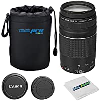 Canon EF 75-300mm f/4-5.6 III Lens + I3ePro Lens Pouch + Expo-Fiber Cleaning Cloth