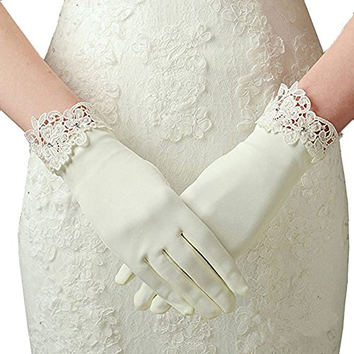 Beautydress Womens Lace Tulle Bridal Gloves for Wedding Prom Fingerless Rhinestones