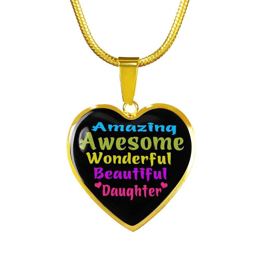Luxury Necklace to My Daughter Heart Pendant Inspirational Gift Ideas for Your Child//Teen Girls On Birthday Amazing Awesome Beautiful Daughter Wonderful Xmas/…18k Gold Plated