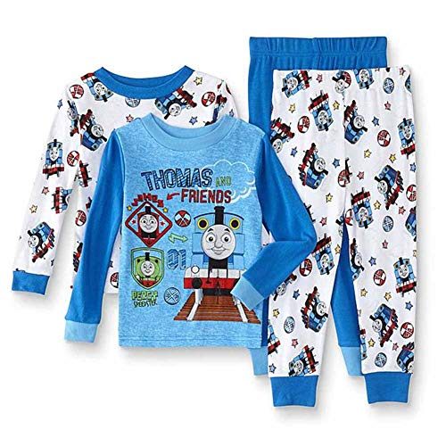Thomas & Friends Baby Toddler Thomas The Train Boys 4-Piece Cotton Pajama Set, steam Team 3T -