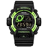 Men Military Watch,SMEAL Watch with Led Night Light Rubber Strap Casual Sport Wrist Watches (Fluorescent Green)