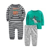 Baby Boys' 3-Piece Playwear Set-Cotton Jumpsuit, Pants, and Shirt