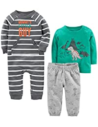 Simple Joys by Carter's Baby Boys' 3-Piece Playwear Set-Cotton Jumpsuit, Pants, and Shirt
