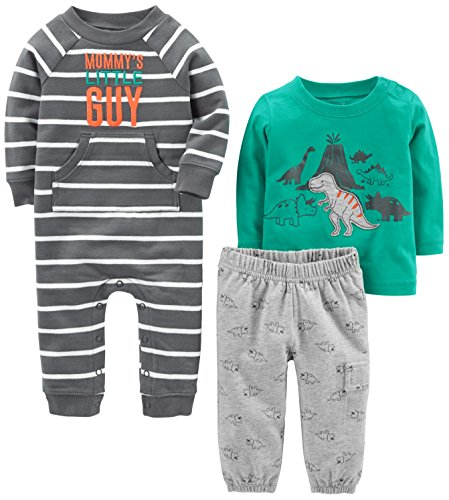 Simple Joys by Carter's Baby Boys' 3-Piece Playwear Set, Turquoise/Gray Dino, 12 Months