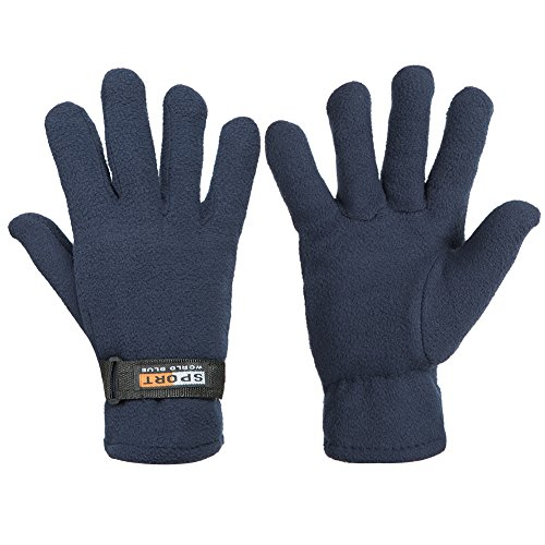 Lady In The Navy Gloves (GLOUE Winter Gloves Winter Keep Warm Soft Fleece Lined Gloves Multiple Color for Men & Women (Navy Blue))