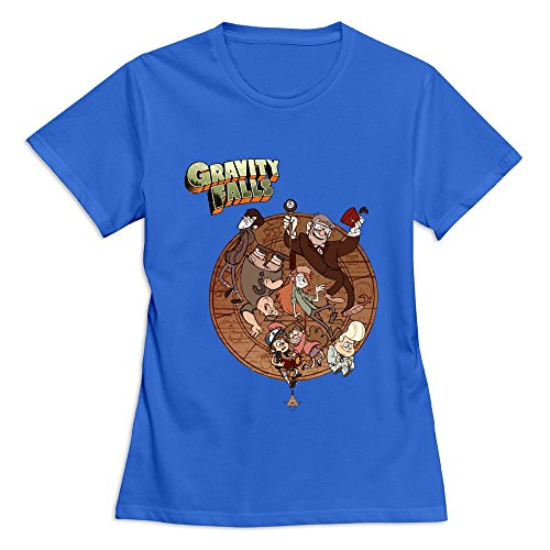 Buluew Women's Spring Gravity Falls O Neck T-Shirt Size L US RoyalBlue -